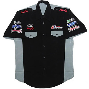 Audi Crew Shirt Black and Light Gray