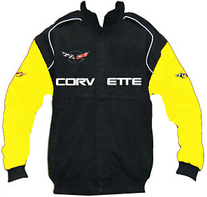 Corvette C5 Racing Jacket Black with Yellow Sleeves