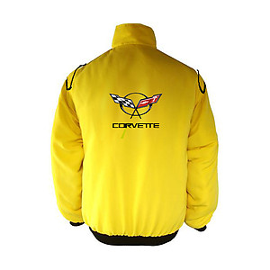 Corvette C5 Racing Jacket Yellow with Black Piping