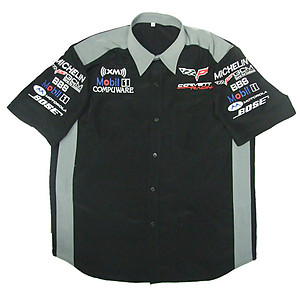 Corvette C6 Compuware Crew Shirt Black and Light Gray