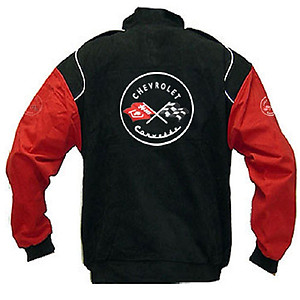 Corvette C1 Racing Jacket Black and Red Sleeves