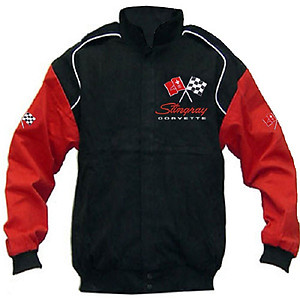 Corvette C3 Racing Jacket Black and Red Sleeves