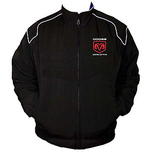 Dodge Dakota Racing Jacket Black with White piping