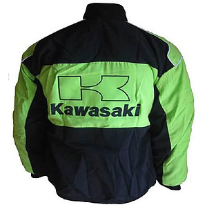 Kawasaki Motorcycle Jacket Black and Green