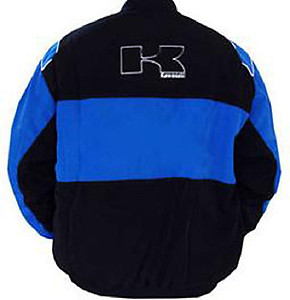 Kawasaki Motorcycle Jacket Black and Royal Blue