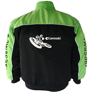 Kawasaki Motorcycle Jacket Light Green and Black
