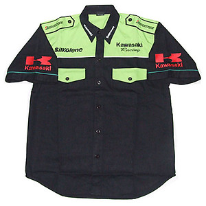 Kawasaki Crew Shirt Black and Light Green