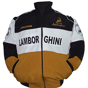 Lamborghini Automobili Racing Jacket Black,White and Brown