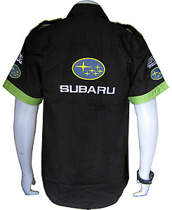 Subaru Monster WRC Rally Racing Shirt Black and Light Green