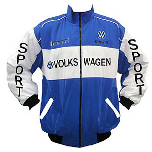 VW Volkswagen Sport Racing Jacket Blue and White