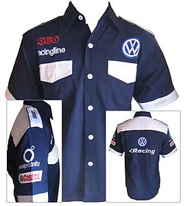 VW Volkswagen Racing Crew Shirt Dark Blue and White
