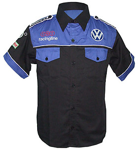 VW Volkswagen O2 Crew Shirt Black and Blue