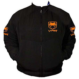 Viper Fangs Racing Jacket Black with Orange Embroidery
