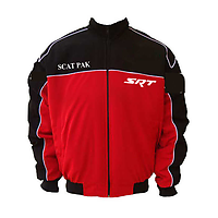 Dodge Challenger SCAT Racing Jacket Black and Red with White piping
