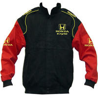 Honda Civic Racing Jacket Black and Red with Yellow Embroidery