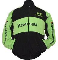 Kawasaki Bridgestone Motorcycle Jacket Black and Green