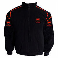 Viper Racing Jacket Black with Red piping